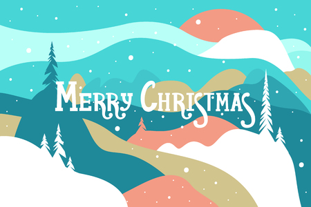 Merry Christmas. Snow trees and trees Winter landscape. Vector illustration.