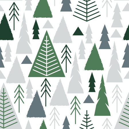 Merry Christmas. A seamless pattern with Christmas trees in the style of a flat, naive.