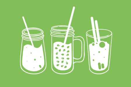 Set of three fruit, vegetable, green smoothies in a jar, bottle, mug. Healthy vegetarian food. Vector illustration.