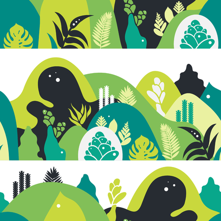 Seamless pattern. Mountain hilly landscape with tropical plants and trees, palms, succulents. Scandinavian style. Environmental protection, ecology. Park, exterior space, outdoor. Vector illustration. Imagens - 114679665