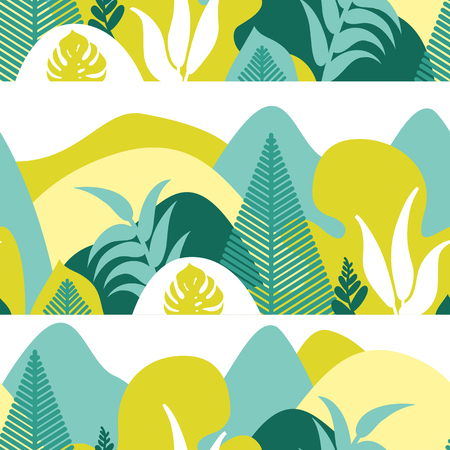Seamless pattern. Mountain hilly landscape with tropical plants and trees, palms, succulents. Scandinavian style. Environmental protection, ecology. Park, exterior space, outdoor. Vector illustration. Imagens - 114679667