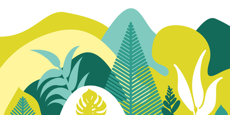 Mountain hilly landscape with tropical plants and trees, palms, succulents. Asian landscape in warm pastel colors. Scandinavian style. Environmental protection, ecology. Park, exterior space, outdoor. Vector illustration. Illustration