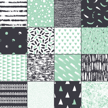 Set of 16 seamless texture. Drops, points, lines, stripes, circles, squares, rectangles. Abstract forms drawn a wide pen and ink. Hand drawn. Vector illustration.