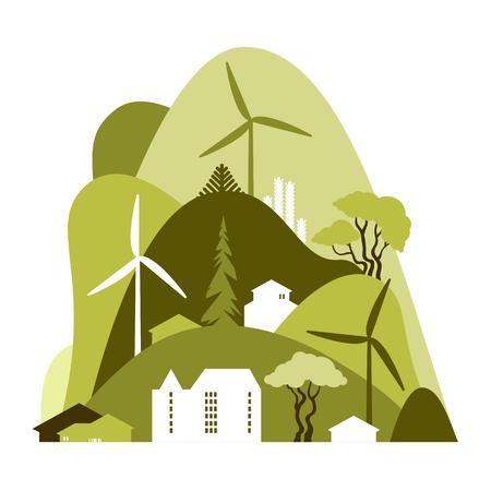 Paysage urbain avec des collines verdoyantes. Préservation de l'environnement, écologie, énergies alternatives. Illustration vectorielle. Vecteurs