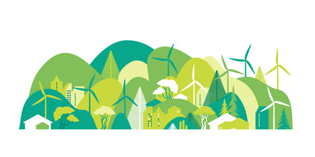 Cityscape with green hills. Preservation of the environment, ecology, alternative energy sources. Vector illustration.