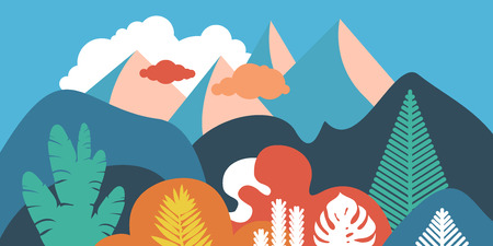 Mountain hilly landscape with tropical plants and trees, palms, succulents. Scandinavian style. Environmental protection, ecology. Park, exterior space, outdoor. Vector illustration. Imagens - 120350339