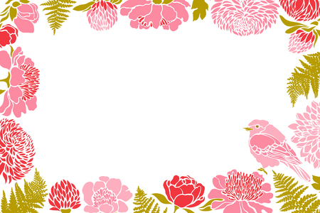 Frame with birds and flowers. Peony, chrysanthemum, clover, tulip, fern. Vector illustration.