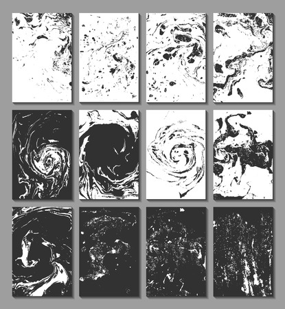 Marbling, ebru, suminagashi. Set of cards with texture, the effect of ink on the water. Abstract background. Design of cards. Vector illustration.