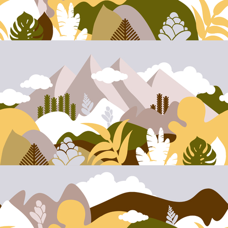 Seamless pattern. Mountain hilly landscape with tropical plants and trees, palms, succulents. Scandinavian style. Environmental protection, ecology. Park, exterior space, outdoor. Vector illustration. Imagens - 120350397