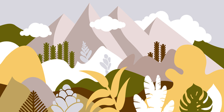 Mountain hilly landscape with tropical plants and trees, palms, succulents. Asian landscape in warm pastel colors. Scandinavian style. Environmental protection, ecology. Park, exterior space, outdoor. Vector illustration. Ilustração