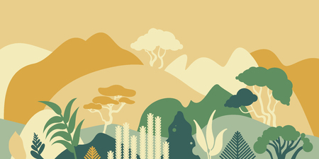 Mountain hilly landscape with tropical plants and trees, palms, succulents. Asian landscape in warm pastel colors. Scandinavian style. Environmental protection, ecology. Park, exterior space, outdoor. Vector illustration. 矢量图像