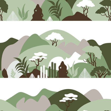 Seamless pattern. Mountain hilly landscape with tropical plants and trees, palms, succulents. Scandinavian style. Environmental protection, ecology. Park, exterior space, outdoor. Vector illustration. Imagens - 120350402