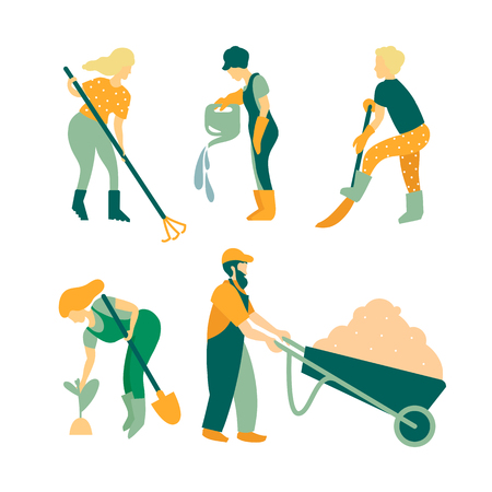 Gardening A set of objects involved in the care of plants. Gardeners men and women, care tools, trees and plants. Ilustração