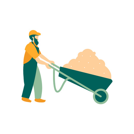 An elderly gardener In the cart spring tulips and hyacinths. The farmer is engaged in planting. Work spring and summer season. Vector illustration in flat style.