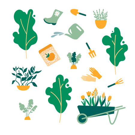 Set of gardening items. Trees, plants, fruits, herbs, tools, gloves, boots, rakes, shovels, seeds, flowers cart. Vector illustration.