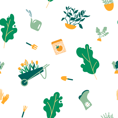 Seamless pattern of gardening items. Trees, plants, fruits, herbs, tools, gloves, boots, rakes, shovels, seeds, flowers cart. Vector illustration.