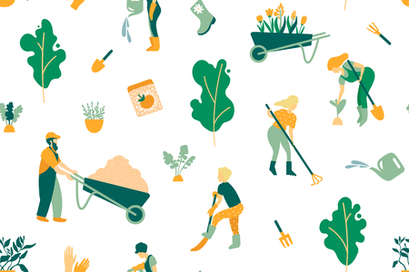 Seamless pattern. A set of objects involved in the care of plants. Gardeners men and women, care tools, trees and plants. Vector illustration.