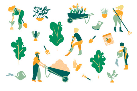 Gardening A set of objects involved in the care of plants. Gardeners men and women, care tools, trees and plants. Vector illustration.