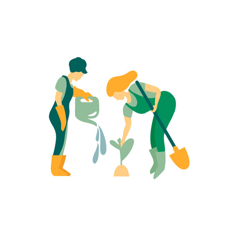 Women gardeners are engaged in planting plants. Watering and cleansing plants. Work spring and summer season. Vector illustration in flat style.