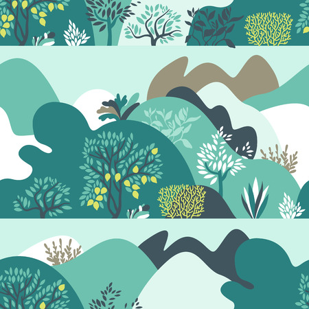 Seamless pattern hilly landscape with trees, bushes and plants. Growing plants and gardening. Protection and preservation of the environment. Vector illustration. Ilustração