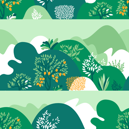 Seamless pattern hilly landscape with trees, bushes and plants. Growing plants and gardening. Protection and preservation of the environment. Vector illustration. Illustration