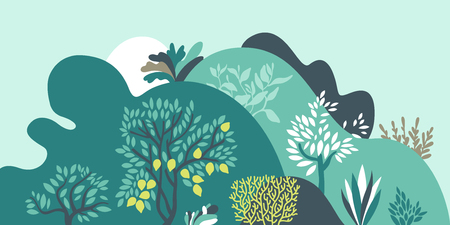 Hilly landscape with trees, bushes and plants. Growing plants and gardening. Protection and preservation of the environment. Earth day Vector illustration.