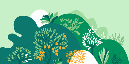 Hilly landscape with trees, bushes and plants. Growing plants and gardening. Protection and preservation of the environment. Earth day Vector illustration. Imagens - 120335783