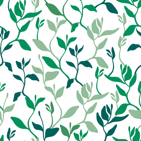 Seamless pattern with leaves, seedlings. Gardening, growing plants. Background for surfaces. Vector illustration.