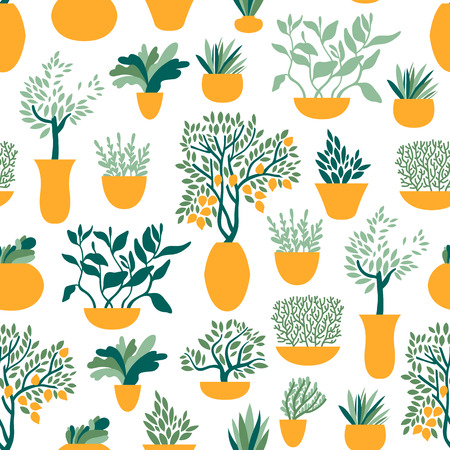 Seamless pattern with garden plants in pots. Gardening and horticulture. Vegetables, fruits, herbs. Vector illustration. Ilustração