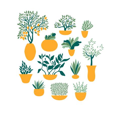 Set garden plants in pots. Gardening and horticulture. Vegetables, fruits, herbs. Vector illustration. Ilustração