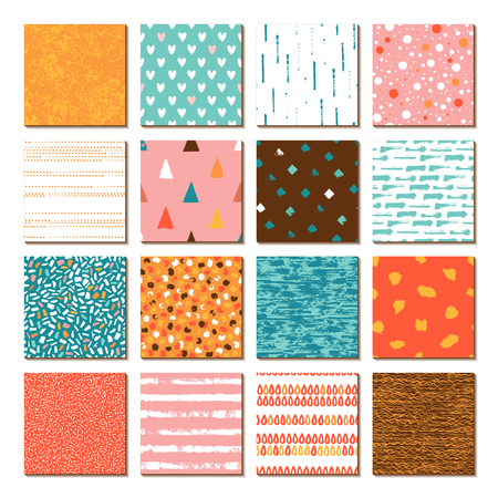 Set of 16 seamless texture. Drops, points, lines, stripes, circles, squares, rectangles. Backgrounds in blue, pink, yellow, red, brown. Hand drawn. Vector illustration. Ilustração
