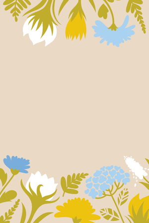Spring Easter card with flowers for congratulations. Dandelions, Muscari, Lungwort, snowdrops. Vector illustration.