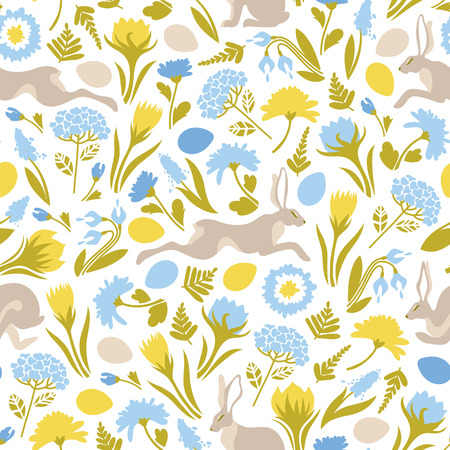 Easter. Seamless pattern with jumping easter bunnies, flowers, eggs. Cute texture for the design of surfaces. Vector illustration.