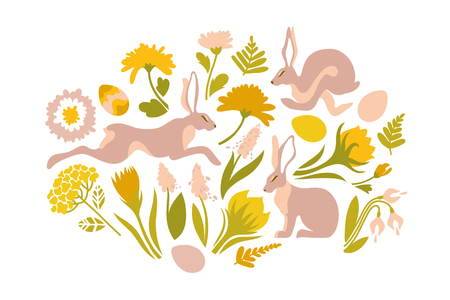 Easter set of objects for design. Print for Easter. Jumping rabbits and spring flowers, ferns. Vector illustration.