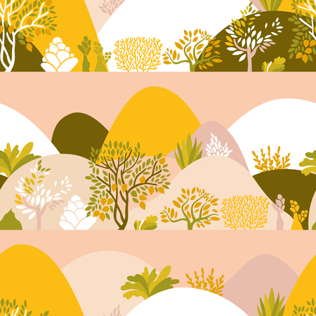 Seamless pattern hilly landscape with trees, bushes and plants. Growing plants and gardening. Protection and preservation of the environment. Earth day Vector illustration.