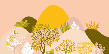 Hilly landscape with trees, bushes and plants. Growing plants and gardening. Protection and preservation of the environment. Earth day Vector illustration. Imagens - 126217992