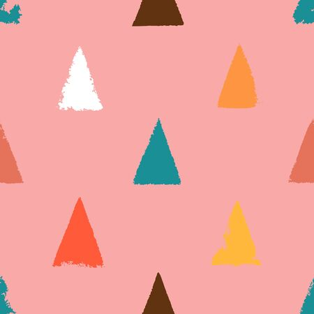 Seamless simple pattern with colored triangles painted with paint on a pink background. Flat style. Surface design. Vector illustration. 矢量图像