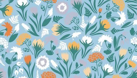 Seamless pattern with flowers. Cute texture for the design of surfaces. Vector illustration. 矢量图像