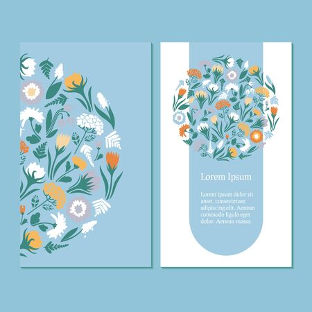 Business card template. Design with spring flowers on blue and white background, seamless pattern. Vector illustration.