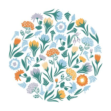 Poster spring flowers in a circle. Vector illustration.