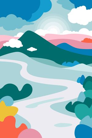 Mountain landscape with a curving river in the foreground and the forests framing it. Cumulus clouds. The poster on the theme of tourism, recreation, environmental protection. Landscape on Earth Day. Vector illustration. Çizim