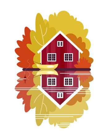 House with a boat on the lake in the autumn forest. The poster on the theme of fishing, tourism and recreation. Vector illustration.