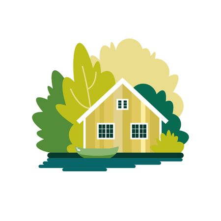 House with a boat on a lake in the summer forest. The poster on the theme of fishing, tourism and recreation. Vector illustration. Ilustração