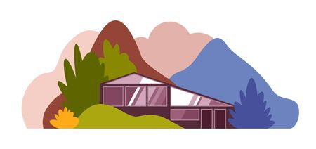 Modern house in the forest among the hills, mountains and forests. Vector illustration.