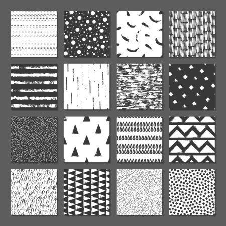 Set of 16 seamless texture. Drops, points, lines, stripes, circles, squares, rectangles. Abstract forms drawn a wide pen and ink. Backgrounds in black and white. Hand drawn. Vector illustration.