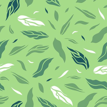 Seamless pattern with tea leaves. Flat style. Vector illustration. 矢量图像