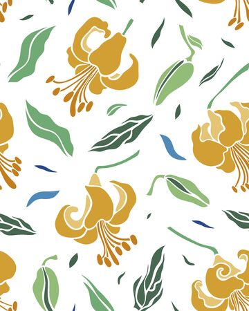 Seamless pattern with golden flowers lilies and blue, green leaves on a white background. Surface design. Texture for fabric, wallpaper, paper. Vector illustration. 矢量图像
