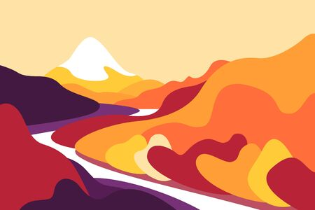 Mountain summer landscape from the foot, slopes, glaciers and snow cap. Forests and trees, river. Banner for tourism, ecology, preservation of the environment. Vector illustration.