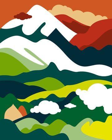Asian landscape with mountain peaks, hills, forests and fields, cloudy sky. Vertical poster on the theme of tourism, environmental protection, ecology. Vector illustration in a flat style.