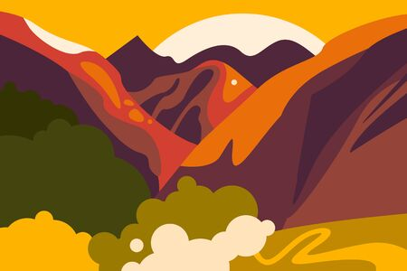 Asian landscape with mountain peaks, hills, forests and fields. Horizontal poster on the theme of tourism, environmental protection, ecology. Vector illustration in a flat style.
